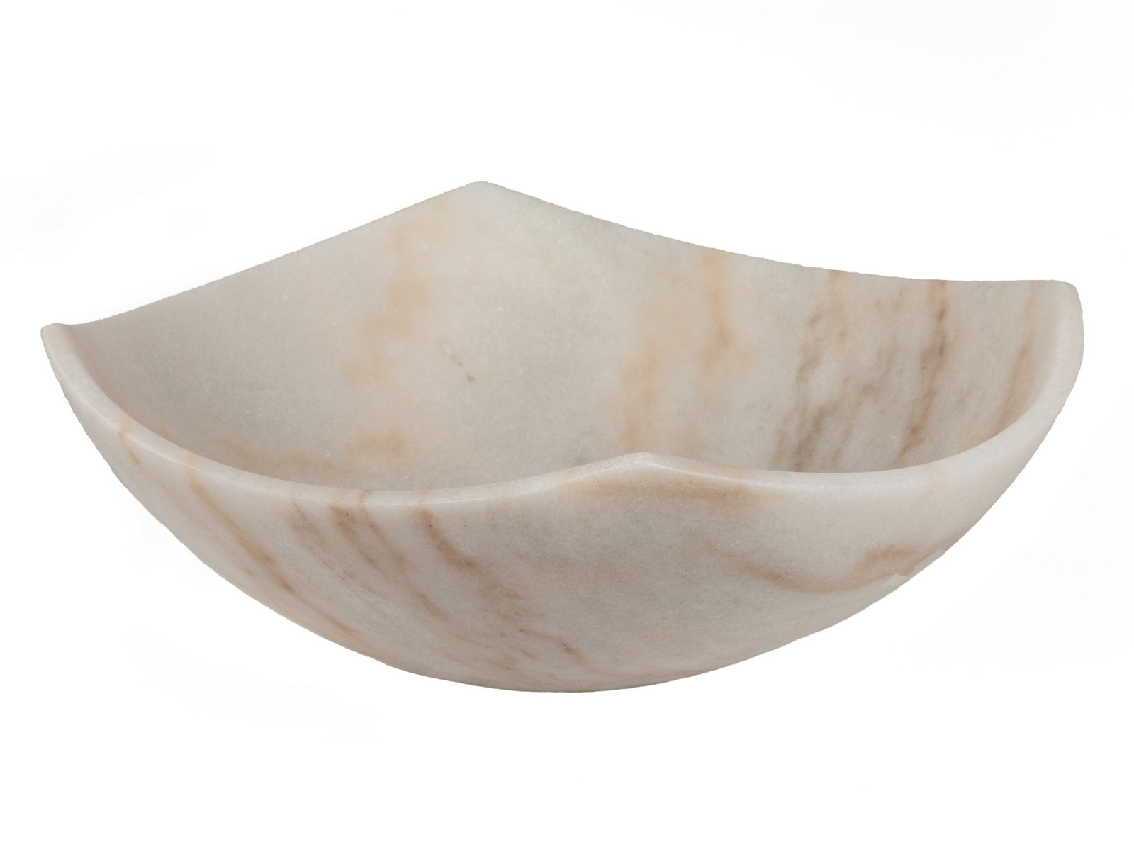 Arched Edges Bowl Sink - Honed White Marble
