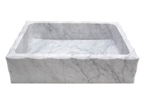 "20"" Rectangular Stone Vessel Sink with Scalloped Edge"