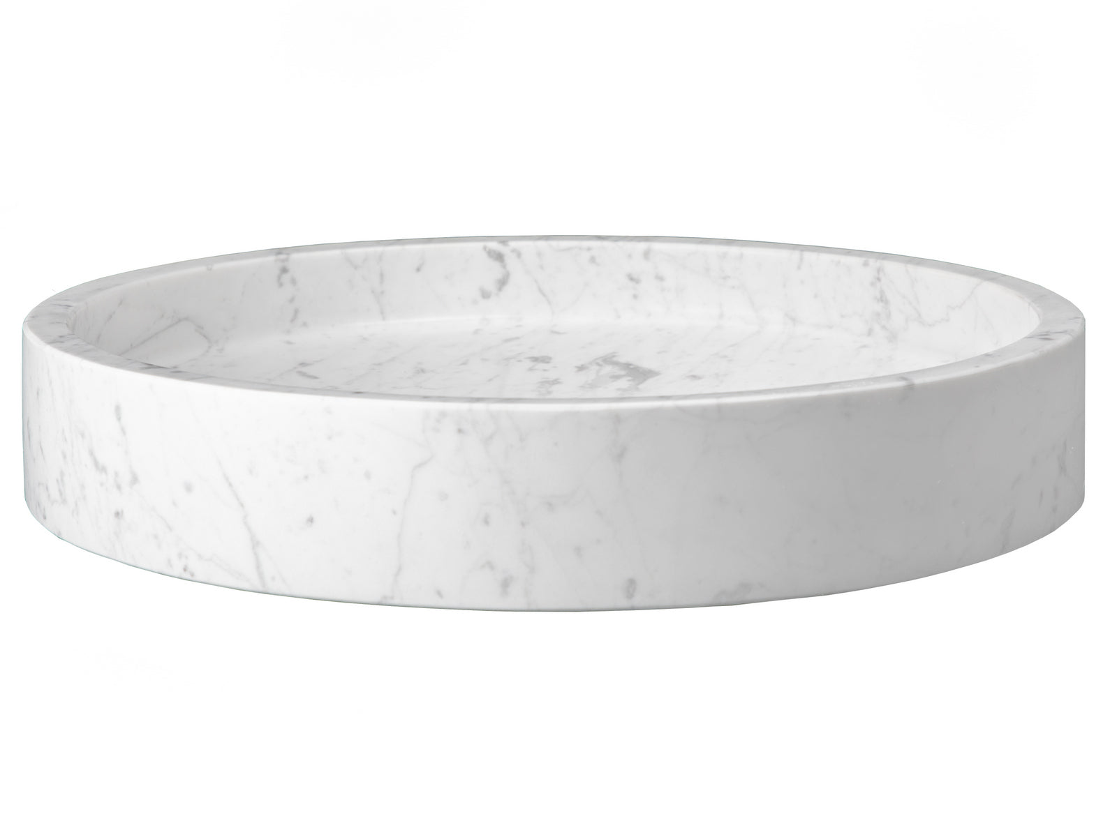 Low Round Vessel Sink   White Carrara Marble