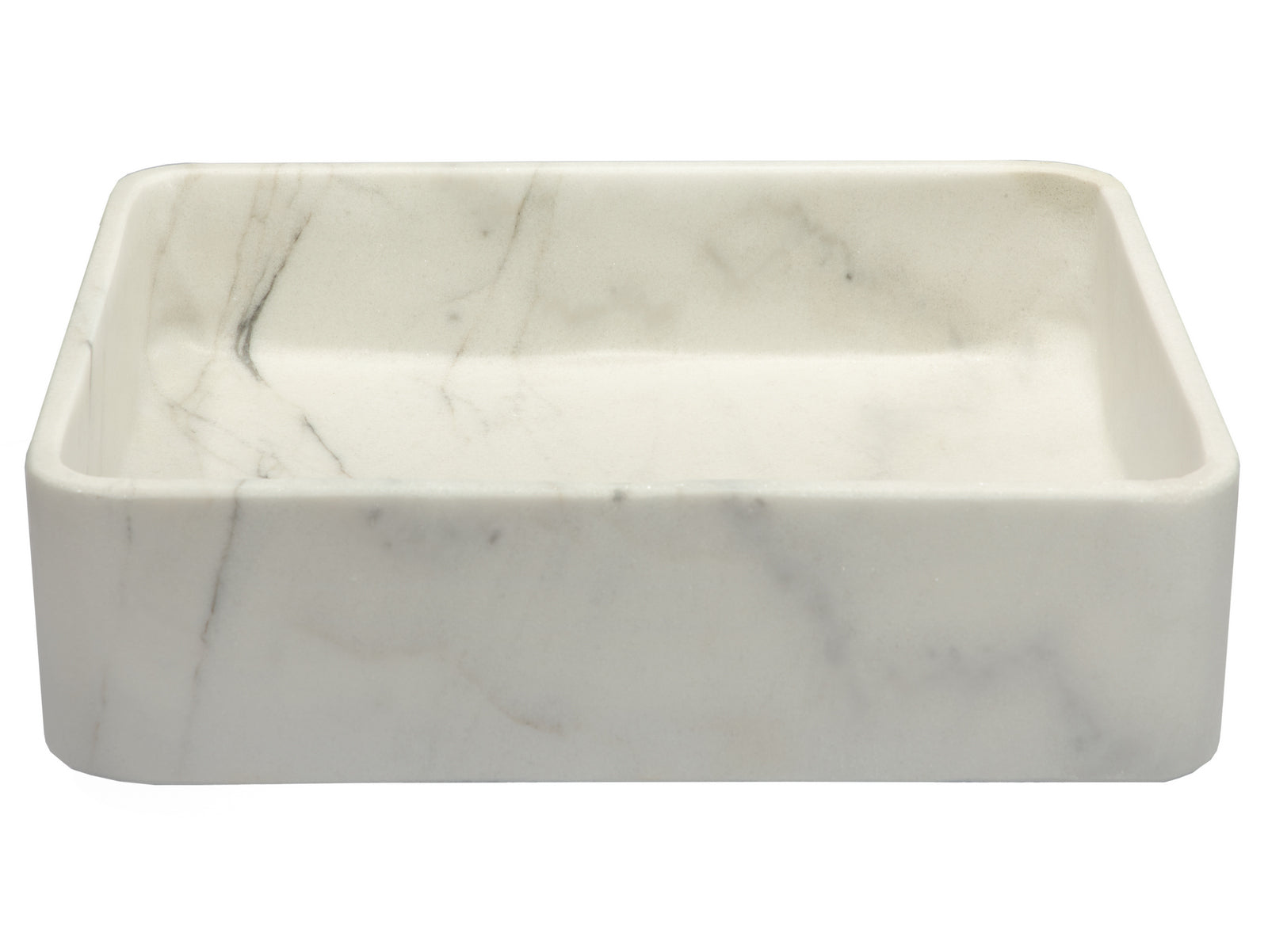 Thin Lip Rectangular Vessel Sink in Guanxi White Marble