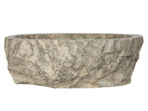 Rustic Grigio Marble Sink with Rough Exterior