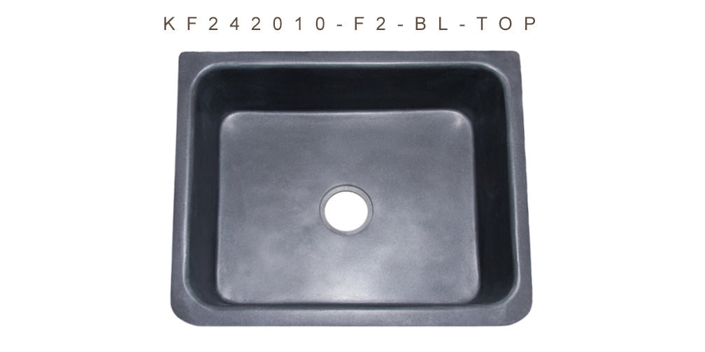 "24"" Farmhouse Kitchen Sink Floral Carved Front-Black Lava"