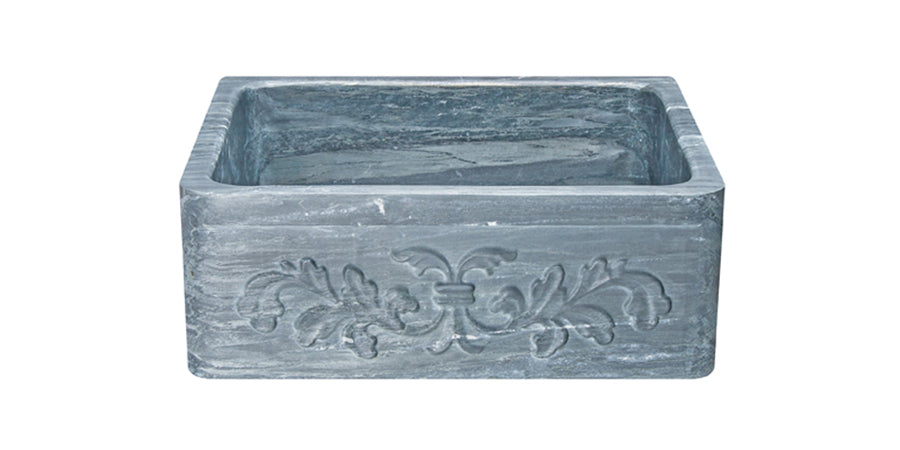 "24"" Farmhouse Charcoal Soapstone Single Bowl Kitchen Sink with Floral Carving Front"