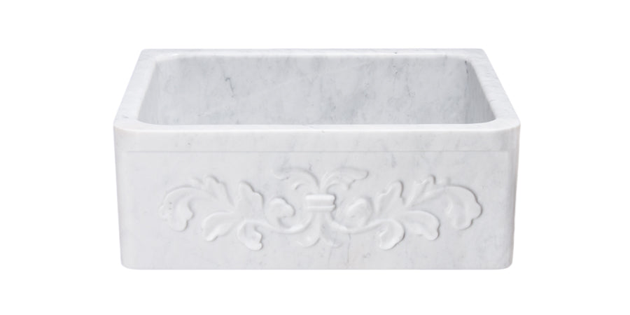 "24"" Farmhouse Kitchen Sink Floral Carved Front-White Carrara Marble"