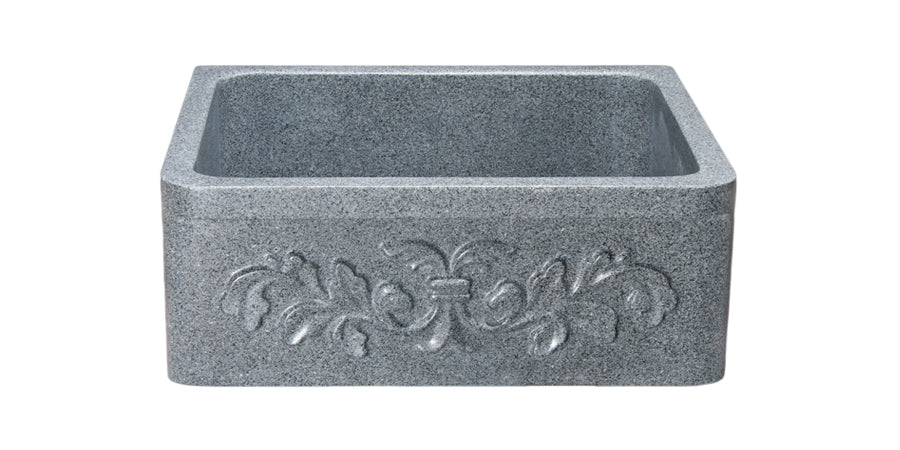 "24"" Farmhouse Kitchen Sink Floral Carved Front-Mercury Granite"