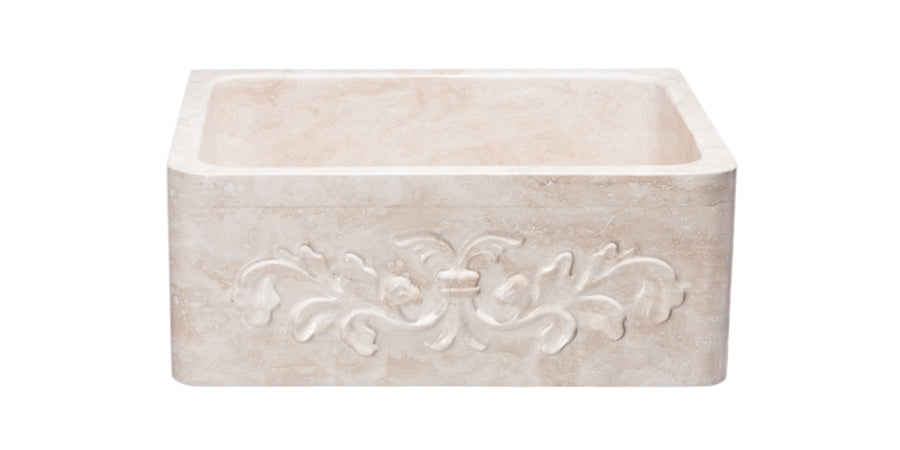 "24"" Farmhouse Kitchen Sink Floral Carved Front-Roma Travertine"