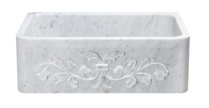 "30"" White Carrara Marble Farmhouse Sink"