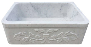 "30"" White Carrara Marble Floral Apron Farmhouse Sink"