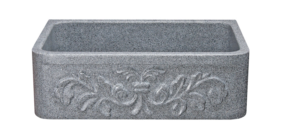 "30"" Mercury Granite Farmhouse Floral Front Kitchen Sink"