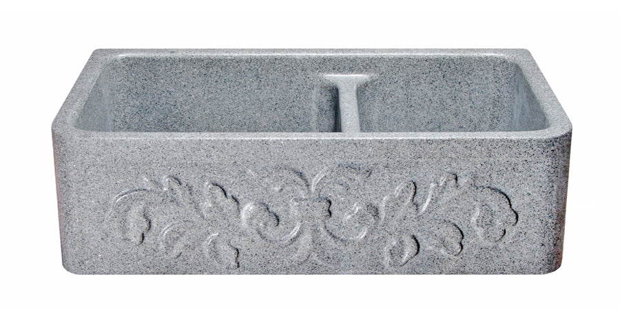 "33"" Mercury Granite 60/40 Farmhouse Sink with Floral Carved Front"