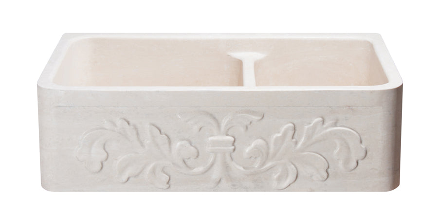 "33"" Travertine 60/40 Farmhouse Sink with Floral Carved Front"