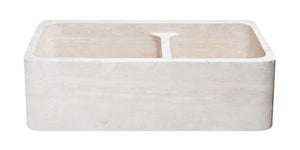 "33"" Travertine 60/40 Split Apron Farmhouse Kitchen Sink"