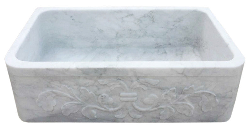 "33"" White Carrara Marble Floral Front Farmhouse Sink"