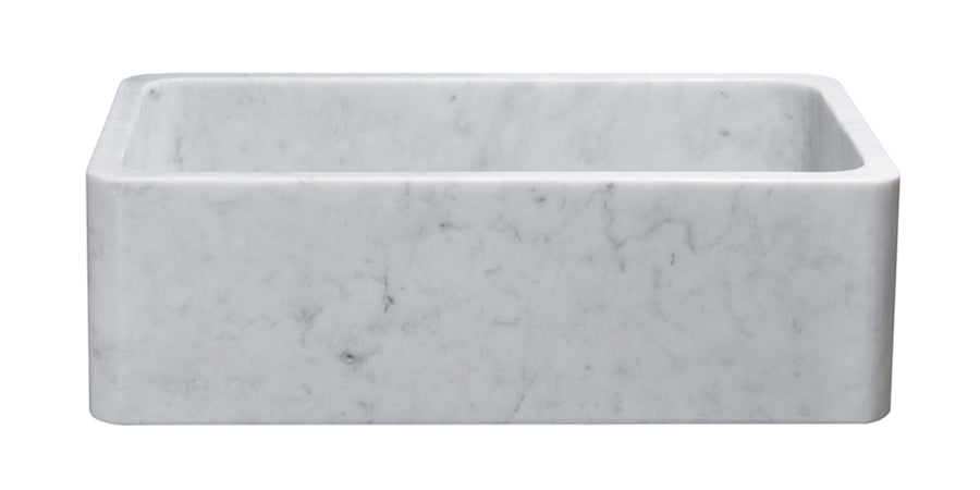 "33"" White Carrara White Marble Farmhouse Sink"