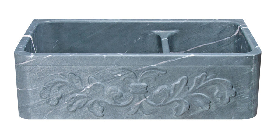 "36"" Farmhouse Charcoal Soapstone 60/40 Bowl Kitchen Sink with Floral Carving Front"