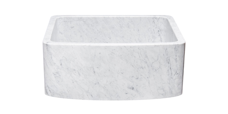 "24"" White Carrara Marble Curved Front Sink"