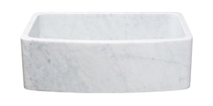 "30"" Curved Apron Front White Carrara Marble Sink"