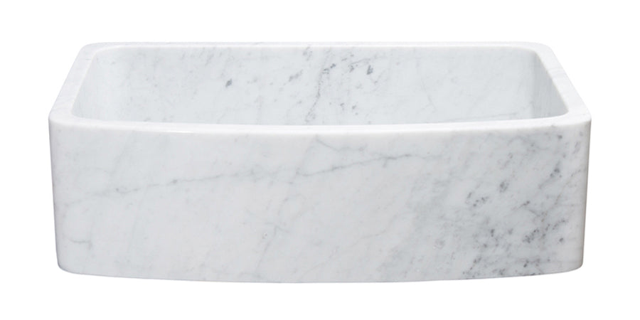 "33"" White Carrara Marble Curved Apron Front Sink"