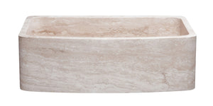 "33"" Travertine Curved Front Apron Farmhouse Sink"