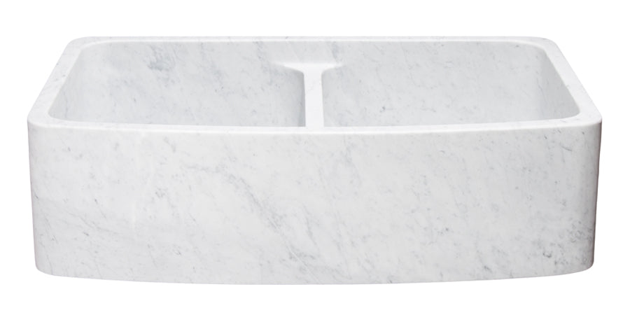 "36"" Double Bowl Curved Front Carrara Marble Farmhouse Sink"