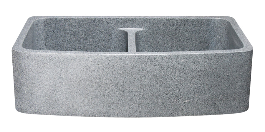 "36"" Mercury Granite Double Bowl Curved Apron Front Sink"