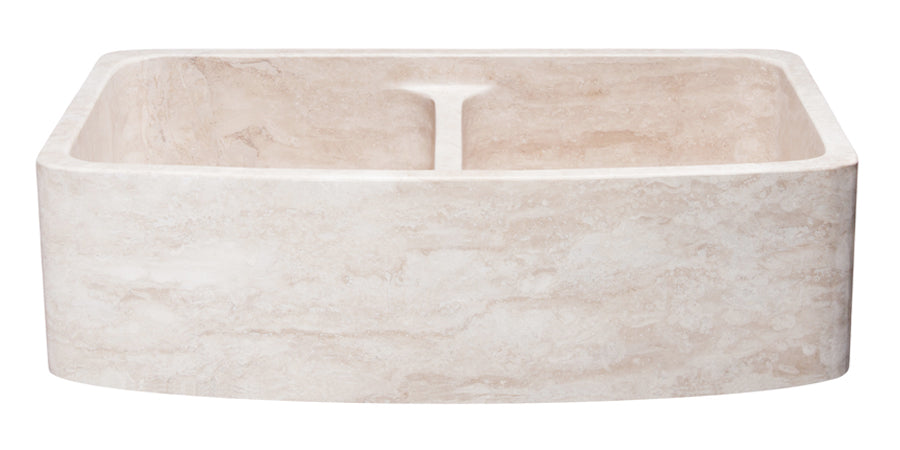 "36"" Travertine Curved Apron Double Bowl Farmhouse Sink"