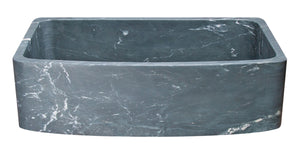 "36"" Farmhouse Charcoal Soapstone Single Bowl Sink with Curved Front"