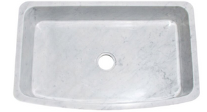 "36"" Single Bowl Curved Front Carrara Marble Farmhouse Sink"