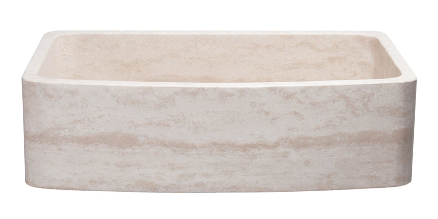 "36"" Single Bowl Curved Front Travertine Farmhouse Sink"