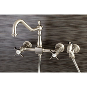 "Wall Mount 8"" Centerset Kitchen Faucet with Brass Sprayer"