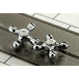 Cross Handles Bridge Kitchen Faucet with Side Spray
