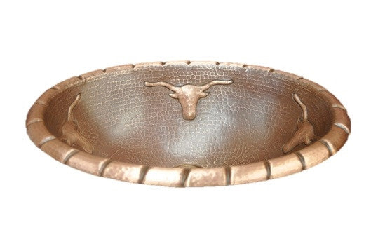 Oval Copper Sink with Longhorn Design
