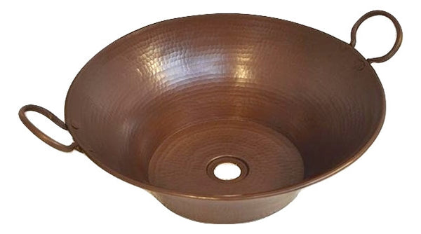 Round Miners Pan Hammered Copper Vessel Sink – Rustic Sinks
