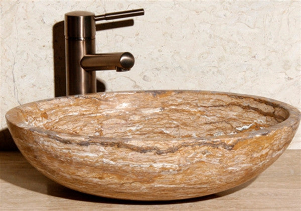 "18"" Travertine Stone Vessel Sink"
