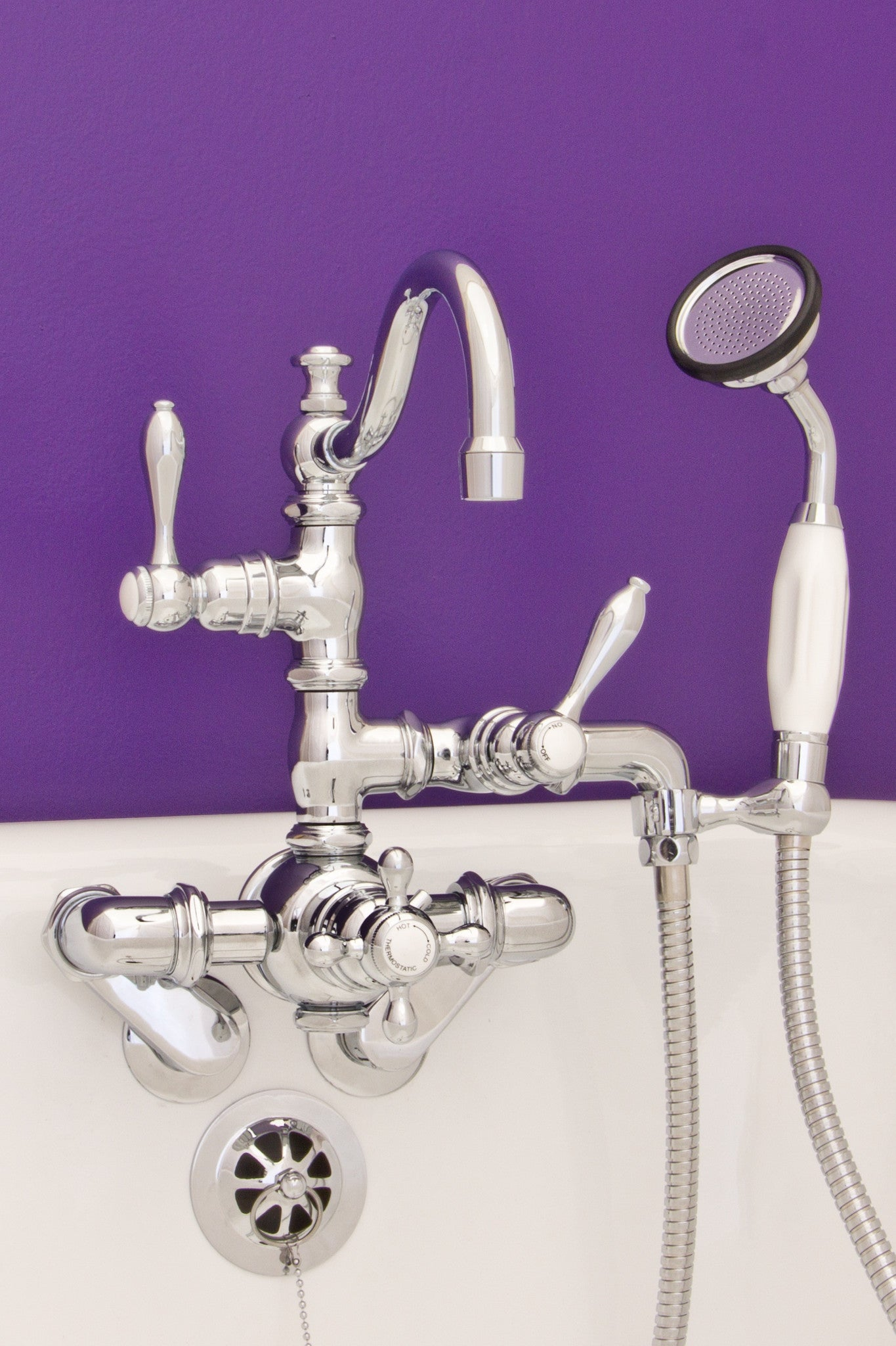 Thermostatic Leg Tub Faucet with Handshower