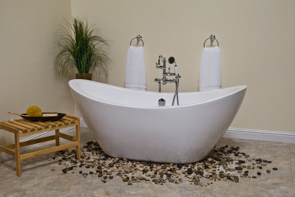 The seneca 65 acrylic soaking tub by strom plumbing for Porcelain tubs vs acrylic