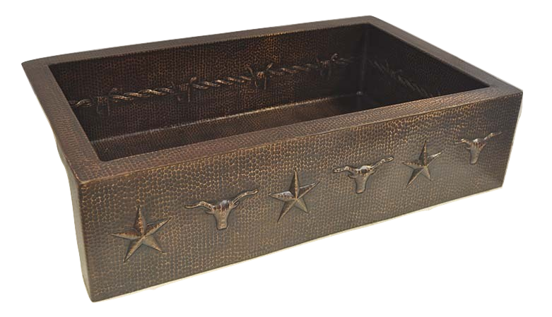 Copper Sink with Longhorn, Barbwire & Stars Design