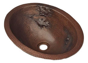 Flat Edge Oval Copper Sink with Branch Pinecones Design