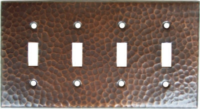 Quadruple Toggle Hammered Copper Switch Plate Cover