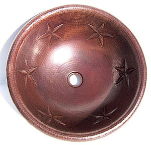 "17"" Round Copper Bath Sink with Stars"
