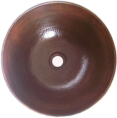 "12"" Round Hammered Copper Vessel Sink"