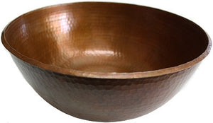 "Round 12"" Vessel Hammered Copper Sink"