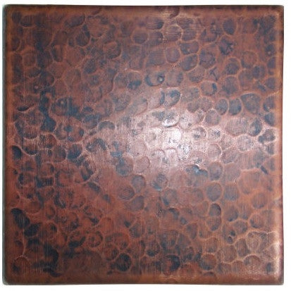 4 x 4 Copper Hammered Tile