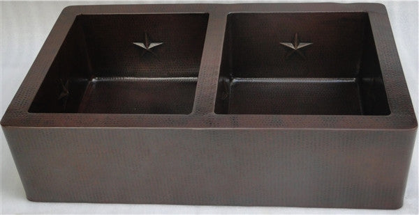 "36"" Farmhouse Copper Kitchen Sink w/Texas Star"