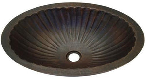Oval Smooth Copper Sink with Fluted Design