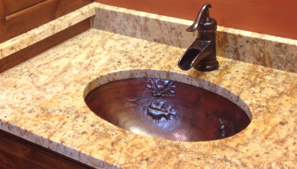 Oval Copper Sink with Branch Pinecones Design