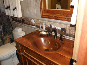 Oval Copper Sink with Bears Design