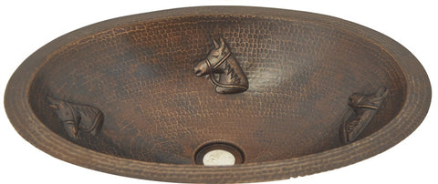 Oval Copper Sink with Horse Design