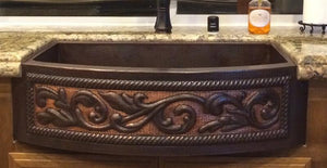 "36"" Copper Rounded Apron Front Sink with Two Tone Scroll Design"