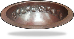 Round Hammered Copper Sink Flower Design